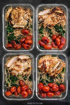 This Garlic Parmesan Kale Pasta Meal Prep includes Garlic Marinated Chicken and brightly flavored blistered tomatoes for a well rounded and delicious meal! BudgetBytes.com