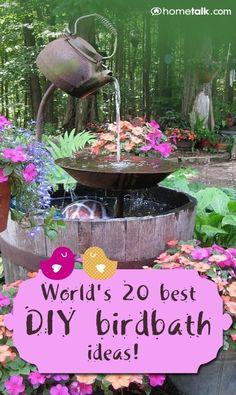Worlds 20 Best DIY Birdbath Ideas!  COPPER PENNIES BEFORE 1980 FOR FUNGUS RELIEF IN FOUNTAINS