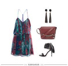 Vestido estampado + Brinco franjas + Bolsa bordô + Sandália tiras #moda #desconto #blackfriday #promoção #look #ellus #vicenza #outfit #ecommerce #shop #lojaonline #lnl #looknowlook