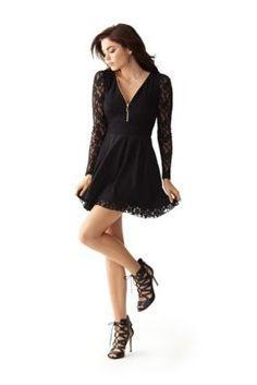 Zip-Front Lace Dress | GUESS.com
