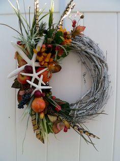 Beachy Wreath for Autumn Three Starfish Fall by BeachyWreaths