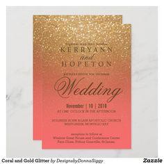 Glitter Invitations, Elegant Wedding Invitations, Custom Invitations, Quinceanera Invitations, Wedding Signs, Wedding Ideas, Coral Wedding Themes, Wedding Decorations, Wedding Cards