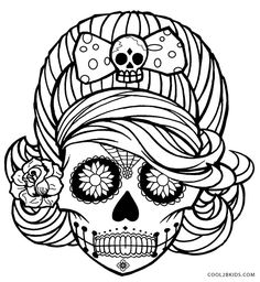 printable skulls coloring pages for kids cool2bkids sugarskulls