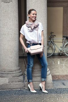 Accessorize Scarf, Accessorize Earrigns, Department Five White Cotton Tshirt, Accessorize Pastel Pink Bag, 7 For All Mankind Cropped Jeans, Guess? White Stiletto