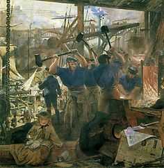 This image was one of a series of eight panels commissioned by the Trevelyan family to decorate the enclosed central courtyard of Wallington Hall. Depicting the activities of Tyneside in Northumberland, the activity of this painting is set in an engineering workshop where three muscular 'strikers' are hammering out molten iron.