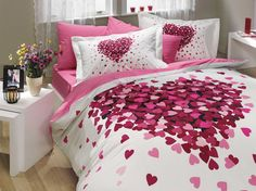 Bedding Set Heart Love Themed with Duvet Cover Romantic Design, Cotton Queen Size - 4 Pieces, Pink Lilac White Best Quilted Comforter, Set USA Cotton Bedding, Linen Bedding, Bedding Sets, Bed Linen, Bed Duvet Covers, Duvet Cover Sets, Bedroom Themes, Bedroom Decor, Duvet Covers Urban Outfitters