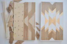 This DIY Wood Wall Art Kit is as easy as putting together a puzzle. Create your own style using the colors you want. Measures 12in x 21in INCLUDED: *Precut White Oak for Design *Plywood Backing *Precu