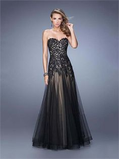 Black A-line Sweetheart Tulle Low Back Long Prom Dress PD12094