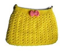 Crochet Yellow Hobo Bag Fabric Lined Purse Cross by jwhizcrochet Hobo Bag, I Shop, Purses, Yellow, Trending Outfits, Crochet, Unique Jewelry, Handmade Gifts, Fabric