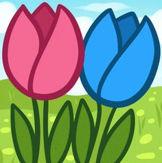 Flowers For Kids - How to Draw Tullips for Kids