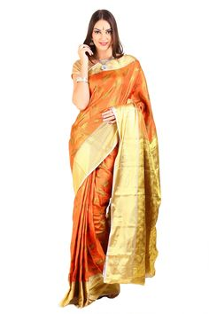 Buy orange & pink silk saree in online unbelievable discounts with new styles, designs. This saree is Multiple color with a Zari border rare combination Hurry up to shop now at silkshari.com