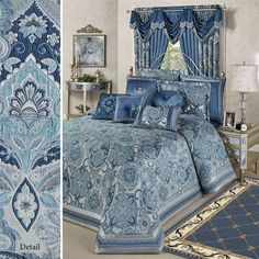 Bring opulence and timeless luxury to your bedroom with the Arabelle Jacobean Damask Grande Bedspread. Oversized bedspread has woven Jacobean damask motifs. Bedroom Wall, Bedroom Decor, Master Bedroom, Bedroom Ideas, Daybed Covers, Duvet Covers, Dressing Room Design, Victorian Bedroom, Luxury Bedding Sets