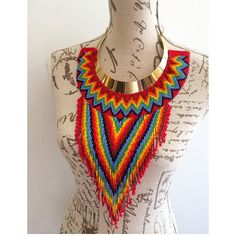I would love to make this but it would take forever and a day African Jewelry, Tribal Jewelry, Beaded Jewelry, Jewellery, Etsy Jewelry, Seed Bead Necklace, Beaded Necklace, Flower Necklace, Seed Beads