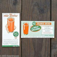 2 Vintage Original GREEN SPOT ORANGE DRINK Beverage Coupons 1940s NOS Unused #GREENSPOT