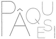 Dessin du mot PAQUES à imprimer. Pour enfants. Point à point ou points à relier. Activités de coloriages sur les dates.