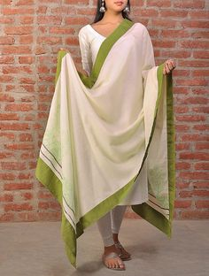 Ecru-Green Hand Block Printed Phulia Cotton Dupatta #handcrafted