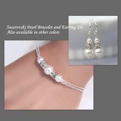 Bridesmaid Gift Bracelet and Earring Set, Bridesmaid Jewelry Set, Bridesmaid Gift, Custom Bridesmaid Jewelry Set, Maid of Honor Gift