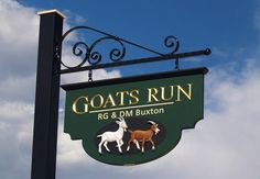 Goat's Run Property Sign, by Danthonia Designs. See more handcrafted signs at www.danthoniadesigns.com