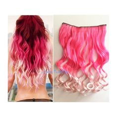 Pink to Incarnadine Color Ombre Hair Extension Synthetic Hair... ($9.90) ❤ liked on Polyvore featuring beauty products, haircare, hair styling tools, bath & beauty, grey, hair care, hair extensions y curly hair care