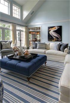 Hues of blue. Oversized art. Living room