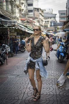 street style fashion outfit inspiration flower dress denim jacket travel thailand