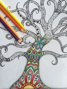 Instant Down LoadAdult And Children Coloring Page Digital Zentangle Inspired Hand Drawn Tree Doodle Art