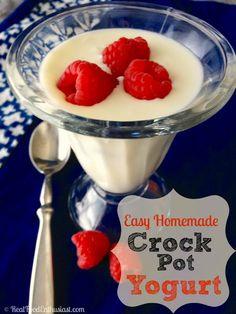 Homemade yogurt recipe that you can make in the crock pot! Super easy and the yogurt turns out so thick and creamy like Greek yogurt!