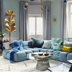 Monday Blues via @ashleytstark #sofa #lighting #blue