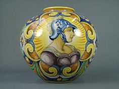 A Cantagalli maiolica vase, late 19th century, of ovoid form in Renaissance style with a central