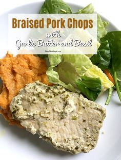 Braised pork chops with garlic butter and basil