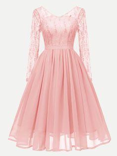 Vinfemass V-neck Lace Mesh Patchwork Long Party Skater Dress Elegant Dresses, Pretty Dresses, Vintage Dresses, Beautiful Dresses, Casual Dresses, Formal Dresses, Gauze Dress, Chiffon Dress Long, Dance Dresses
