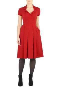 POCKETS!!! Structured cotton knit dress inspired by vintage styling is fashioned with a banded waist and a cross-over sweetheart neckline looped at the sides.