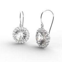 Rond Diamant cluster Pave Fleur Design Clous D/'Oreilles 14K Or Blanc Finition