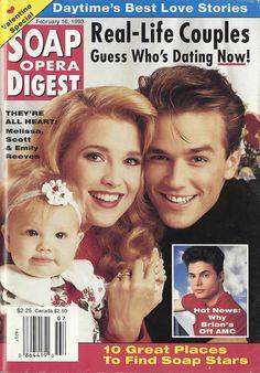 Melissa Reeves (Jennifer #DAYS), Scott Reeves (Ryan #YR), & daughter Emily 2/16/93 http://classicsodcovers.tumblr.com/