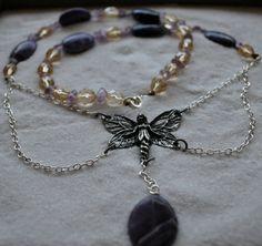 Puple Butterfly Fairy Necklace w/ Amethyst by GeekyGaeaDesigns