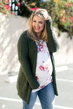 Olive Green Popcorn Knit Plus Maternity Cardigan - A popcorn knit plus size maternity cardigan featuring a solid hue, long dolman sleeves and an open - Casual Maternity Outfits, Plus Size Maternity Dresses, Stylish Maternity, Pregnancy Outfits, Maternity Wear, Maternity Fashion, Pregnancy Fashion, Maternity Clothing, Maternity Style