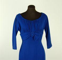 1960s dress blue wool empire waist royal blue by vintagerunway, $49.00