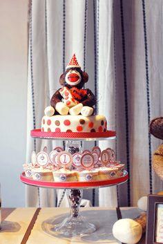 Sock monkey smash cake and cupcakes