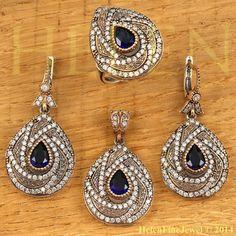 Хюррем Султан Set  Drop Shape Sapphire Color by helenfinejewels