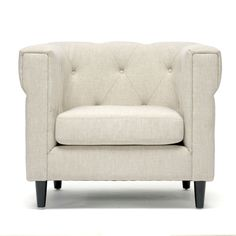 Stylish details and a stunning shape give this contemporary linen chair timeless appeal. Fabric-covered buttons finish the tufted seat back. The neutral beige color contrasts nicely with the chair's sleek black legs for a look you'll love.