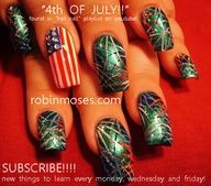 Nail-art by Robin Moses: 4TH OF JULY nail art design tutorial, juicy WATERMELON nail art design, cute cupcakes with faces and frosting nail art design, american flag nail, fireworks nail art, red white and blue fireworks nail