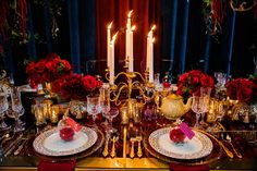Beauty and the Beast inspired table with clever decor elements from the film