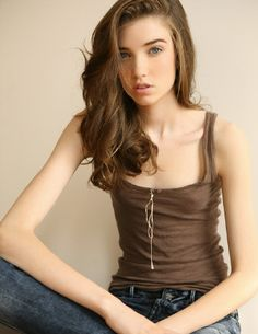 Brown top : Flat Chested