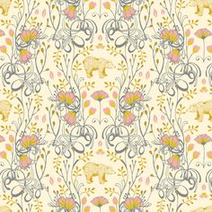Timber & Leaf Brush Bear in Ivory Sarah by PinkDoorFabrics