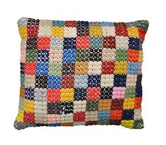 vintage crocheted patchwork pillow