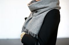 Acne scarf by Mariannan Fashion Mode, Fashion Outfits, Womens Fashion, Fashion Trends, Fashion 2014, Street Fashion, Runway Fashion, Grey Scarf, Mode Chic