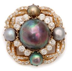 1890 Pearl and Diamond Cluster Brooch