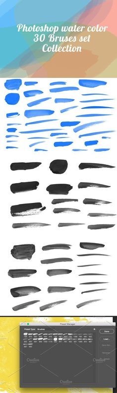 Water Color Brushes for Photoshop. Photoshop Textures