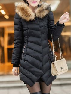 Thick Faux Fur Mid-Length Women's Cotton Padded Jacket Fashion girls, party dresses long dress for short Women, casual summer outfit ideas, party dresses Fashion Trends, Latest Fashion # Mens Casual Suits, Green Evening Dress, Jackets For Women, Clothes For Women, Cotton Pads, Padded Jacket, Mi Long, Summer Dresses For Women, Outerwear Women