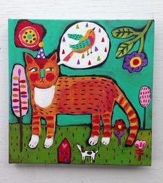 Folk Art Cat Painting on Canvas by evesjulia12 on Etsy